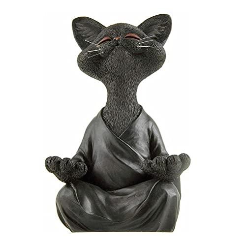Lubudup Estatua de meditación, estatua de gato, estatua zen para yoga, figura decorativa de resina, para meditación, yoga, decoración, Feng Shui, decoración, artesanía, para jardín, porche, patio