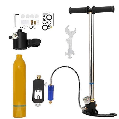 Focket Carro Armato Portatile, 0,5L 10 Minuti capacità Mini Bombola di Ossigeno per Immersione Respiratore Subacqueo Bombola da Sub Polmoni Kit Snorkeling Attrezzatura da Sub con Gonfiatore(Arancia)