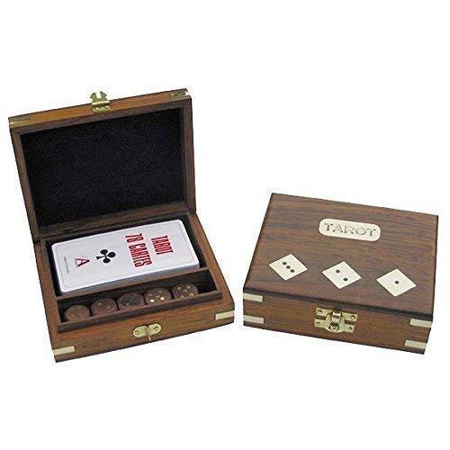 linoows Tarot Karten und Würfelspiel in dekorativer Holzbox mit Messingeinlagen