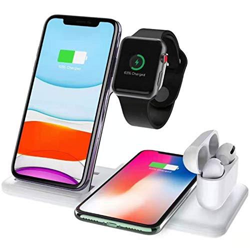 Soporte de Cargador inalámbrico 4 en 1 15W Estación de Muelle de Carga rápida Compatible con iPhone 12 Pro MAX 11 x Compatible con Apple Watch Iwatch 6 5 4 Airpods Pro,Blanco