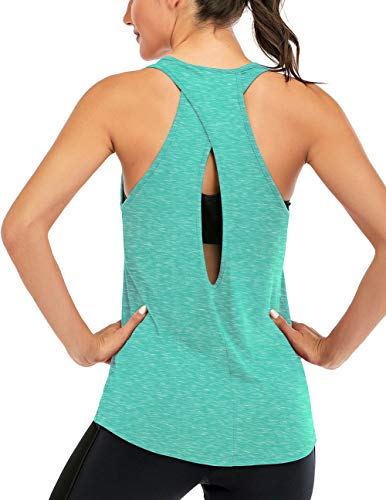 Fihapyli Women's Cross Back Yoga Shirt Backless Workout Tops for Womens Racerback Tank Tops Open Back Running Muscle Tanks Workout Tank Tops for Womens Loose Fit Yoga Tops Active Tanks LightGreen L