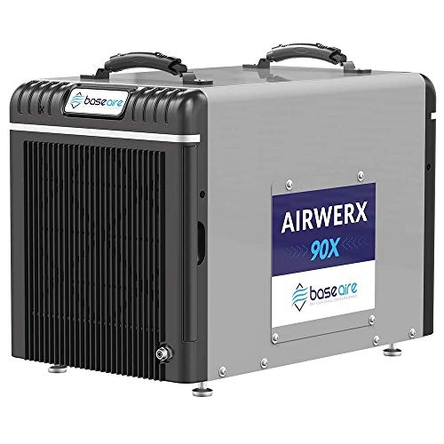 BaseAire AirWerx90X Energy Star Dehumidifier for Crawl Space Basement, 198 Pints Commercial Dehumidifier with Pump, 5 Years Warranty, Intelligent Humidity Control, Auto Shut off/Restart