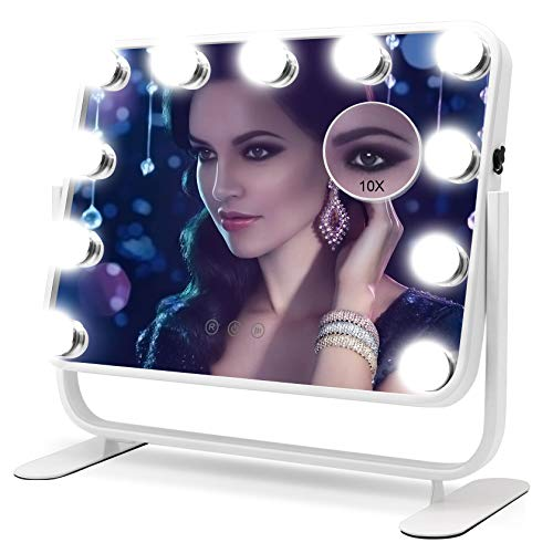 FASCINATE Hollywood Makeup Vanity Desk Mirror with Light, LED Lighted Cosmetic Mirror with 11 Dimmable Bulbs, 1X/10X Magnificaions 3 Colors Lighting Modes, Tabletop or Hang on Smart Mirror (White)