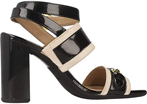Geox Damen D AUDALIES HIGH Sandalo C Riemchensandalen, Schwarz (Skin/Black), 36 EU