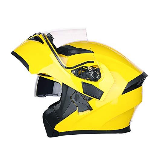 FREEUP Motorrad Helm Klapp Helm Integralhelm Motorradhelm mit Doppelvisier Scooter Roller Helm für Damen und Herren,Gelb,XL