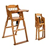 34' Baby Wooden High Chair with Tray, Modern Baby Dinning Chair with 3 Gear Adjustable Height, Foldable, Seat Belt and Safety Strap Perfect Feeding Highchairs Solution for Babies and Toddlers
