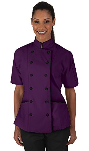 Women's Eggplant Chef Coat with Piping (XS-3X) (XX-Large)