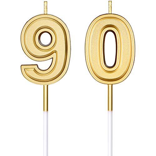 90. Geburtstag Kerzen Kuchen Ziffer Kerzen Happy Birthday Kuchen Kerzen Topper Dekoration für Geburtstag Hochzeit Jahrestag Feier Lieferungen