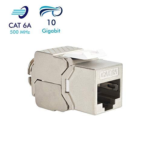 VESVITO Keystone Jack Modul CAT 6A RJ45 Buchse, geschirmt, bis 10 Gigabit Ethernet, werkzeuglos, kompatibel mit CAT7A CAT7 CAT6 Netzwerkkabel, Einbaubuchse für Verlegekabel Patchpanel Patchfeld