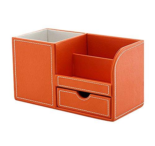 JUNGEN Piel sintética soporte para bolígrafos organizador de escritorio con compartimento, 22,5 x 10 x 12 cm, Naranja