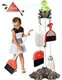 PEFECEVE 7 Pcs Kids Cleaning Set, Dinosaurs Kids Housekeeping Toys Set for 3 to 8 Years Old Girls & Boys, Detachable Cleaning Toys with Mop, Broom, Dustpan, Brush, Duster for Toddlers & Preschoolers