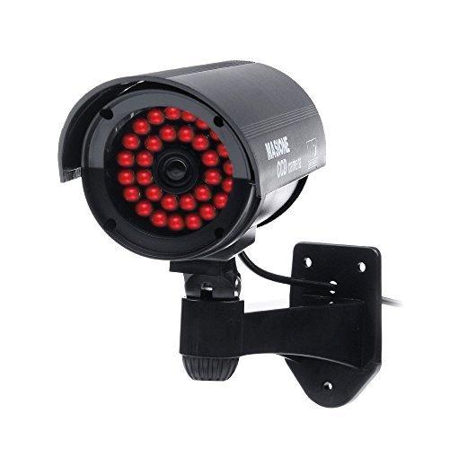 Masione® Cámara de vigilancia falsa, Cámara fictícia, Cámara de seguridad de imitación para exteriores con 30 LEDs parpadeantes (negro) Vigilancia CCTV