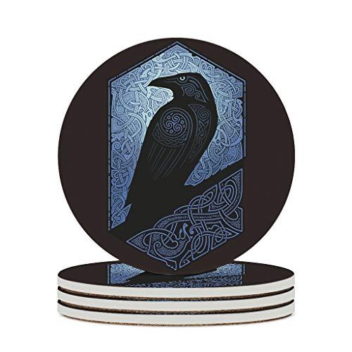 KittyliNO5 Posavasos redondos de cerámica vikingo con cuervo de Odín, juego de 4 o 6 posavasos absorbentes con dorso de corcho para tazas, mesa o bar, cristal, color blanco, 4 unidades