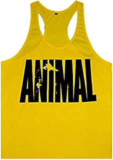 Mens Print Bodybuilding Gym Tank Tops Workout Fitness Vest Exposed Muscle Casual Basketball Running Sports Vest T-shirt Me...