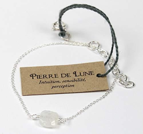 Bracelet coussin de Pierre de Lune 7 mm - Argent 925