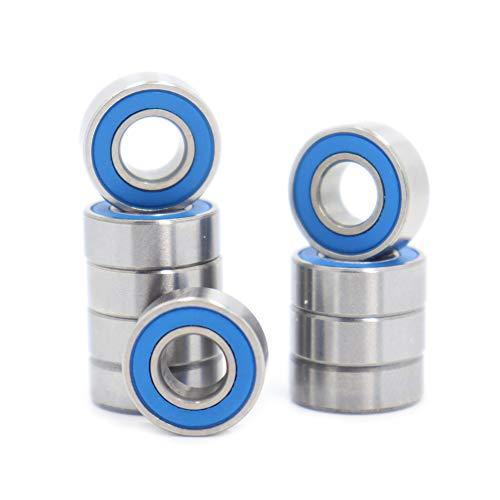 Cuscinetti a sfera MR115-2RS, 5 x 11 x 4 mm, compatibili con Traxxas 5116,5 x 11 mm, ABEC-3, in gomma sigillata blu (10 pezzi)