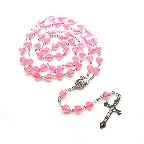 CUCUDAI Colar com rosário rosa de porcelana católica, rosário rosa de porcelana para oração, colar de porcelana rosa em forma de coração