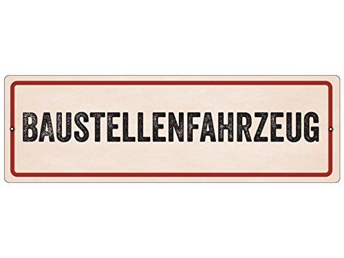 Interluxe Kunststoffschild mit Saugnapf BAUSTELLENFAHRZEUG Baustelle Warnung Hinweisschild