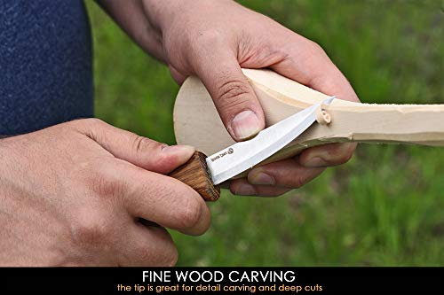 BeaverCraft Sloyd Knife C4 3.14' Wood Carving Sloyd Knife for Whittling and Roughing for beginners and profi - Durable High carbon steel - Spoon Carving Tools - Thin wood working (Whittling Knife)