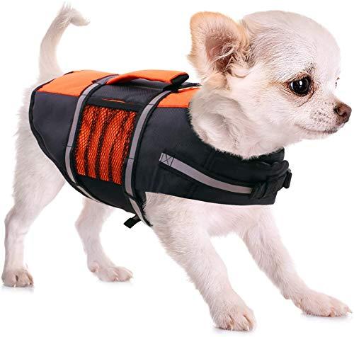 FR&RF Chaleco salvavidas para perro salvavidas de alta flotabilidad con asa de emergencia para perros pequeños, medianos, grandes en la piscina, playa, naranja, XS