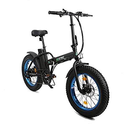 """ECOTRIC Electric Fat Tire Bicycle Folding Bike 12Ah 36V 500W Lithium Battery Beach Snow Mountain 20"""" Ebike Moped (Black & Blue) w/Free Rear Rack"""