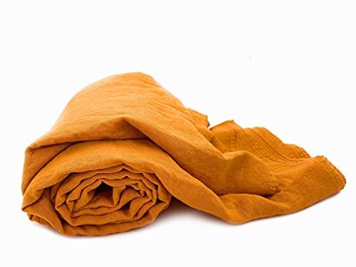 JOWOLLINA 100prozent Leinen Stonewashed Laken Bettlaken Überwurf (240x260 cm, Gold Orange)