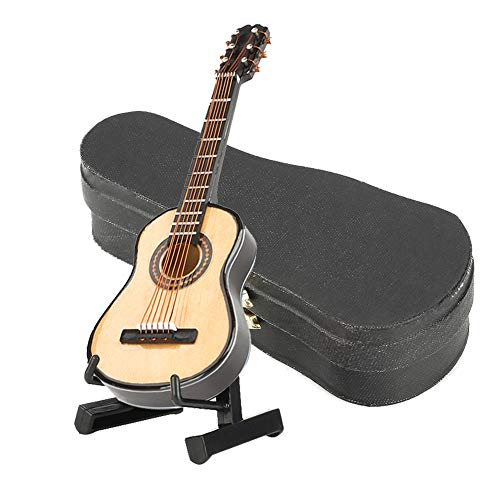10CM Miniatur Gitarre Modell mit Stand und Box Holz Mini Deko Gitarre Guitar musikalische Ornamente Handwerk Wohnkultur