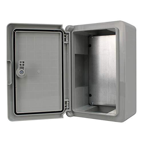 Schaltschrank IP65 Industriegehäuse verzinkter Montageplatte Verriegelung Tür mit umlaufender Dichtung Gehäuse Leergehäuse ABS Kunststoff Schrank (200x300x130mm)