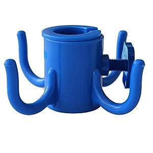 AMMSUN gancho para sombrilla de playa, de plástico, 4 ganchos para colgar toallas/cámara/Gafas de sol/bolsas, para la playa, viajes de camping, color azul