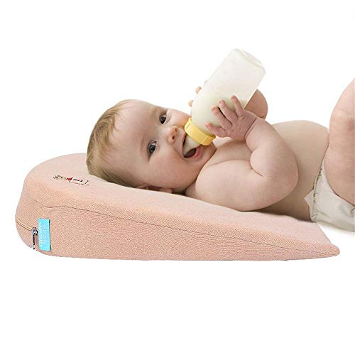 Universal Crib Wedge Pillow for Baby Crib Mattress Newborn Reflux and Newborn Nasal Congestion Reducer 100% Cotton Removable Cover   15-Degree Incline for Better Night's Sleep