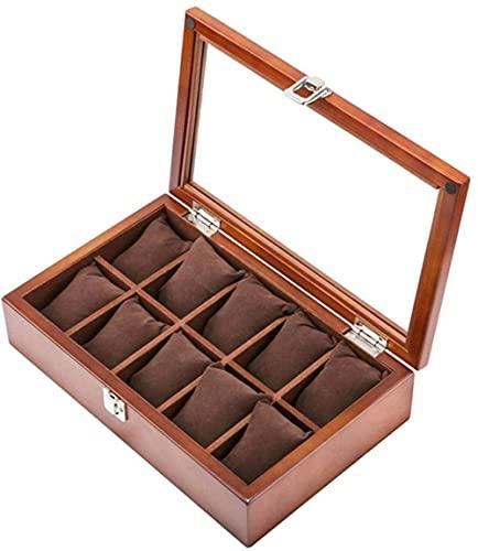 MMYNL Caja de Reloj de Techo corredizo de Madera Retro de 8 dígitos Organizador cosmético Caja de presentación de Reloj Caja de Almacenamiento de Caja de Pulsera de joyería 27,8 * 18,8 * 7,6 cm