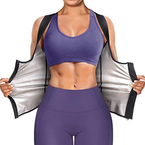 Junlan Sauna Suit for Women Waist Trainer Vest for Women Sweat Tank Top Shaper for Women with Zipper