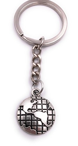 H-Customs Globus Erde Weltkugel Schlüsselanhänger Anhänger Silber aus Metall