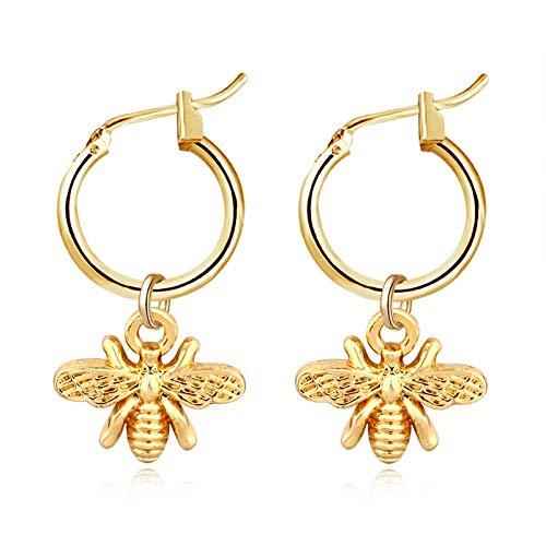 TOOGOO 1Par Elegante Color Dorado Peque?a Colgante De Abeja Aretes De Aro Para Mujer Pendientes De Insectos Estereoscópicos Lindos Regalo De Joyería De Moda