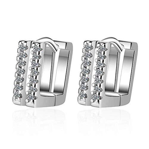 Pendientes de botón cuadrados de cristal de doble fila simple de moda diseño joyería geométrica mujeres