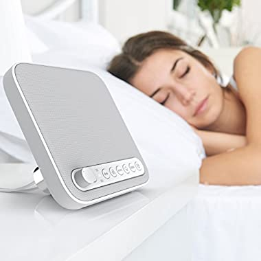 Wave Premium Sleep Therapy Sound Machine – Soothing All-Natural Sounds Include White Noise, Fan, Ocean, Rain, Stream, and Summer Night - Includes Timer and USB Output Charger