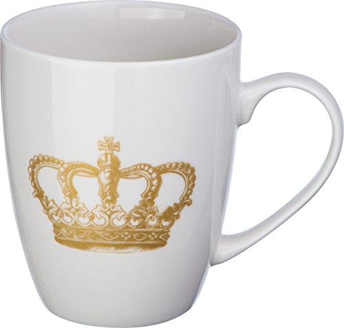 noTrash2003 Kaffeetasse oder Kaffeebecher mit goldfarbenem Kronenaufdruck in Geschenkbox für bis zu 300 ml Flüssigkeit