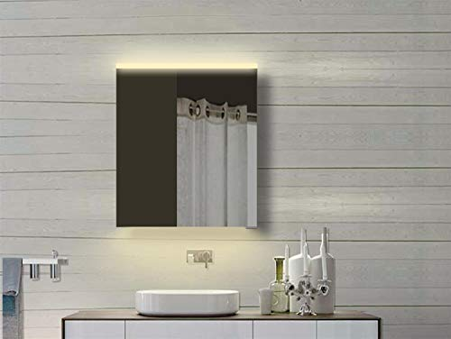 Lux-Aqua YDC 60-70DP - Armadietto da Bagno con Specchio e Cornice in Alluminio, Colore: Bianco Caldo e Freddo