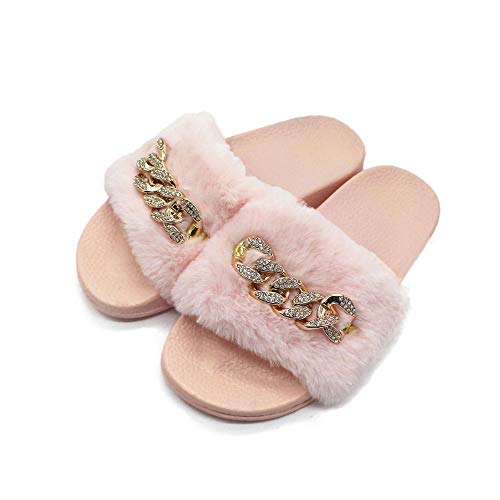 B/H Indoor Faux Fur Shoes,Chain flashing drill plush slippers,indoor and outdoor flat-bottomed warm flip-flops-Pink_41,Washable Flat Indoor/Outdoor Slip on Shoes
