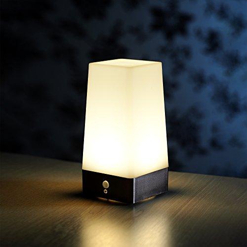 Auraglow Tischlampe, kabellos, PIR-Bewegungssensor, superhell, LED, batteriebetrieben, Flur, Nachtlicht