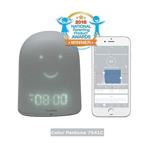 REMI - The Best Children Clock Ok to Wake - Sleep Trainer - Sleep Tracker - Audio Baby Monitor - Night Light & White Noise Sound Machine - mp3 and Streaming Music Speaker - Time-to-Rise Face - Grey