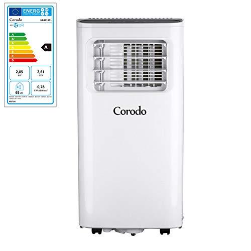 Corodo 4 in 1 Mobile Klimaanlage – Kühlen, Ventilator, Luftentfeuchter, Schlafmodus – 7000 BTU/h Kühlung – lokales Klimagerät mit Fernbedienung und 24h Timer, Abluftschlauch, Fensterabdichtungs-Set
