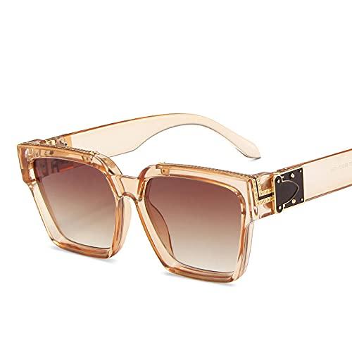 Gafas de Sol Gafas De Sol Cuadradas De Gran Tamaño A La Moda para Mujer Y Hombre, Gafas De Sol Geniales con Montura Grande para Mujer-C5