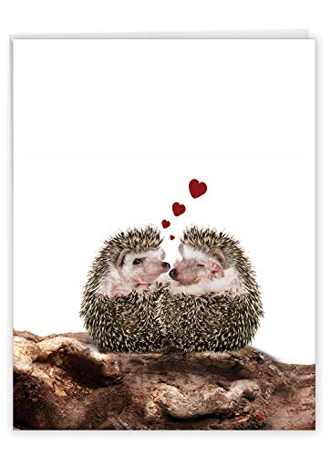 The Best Card Company, Jumbo Valentine's Day Card (8.5 x 11 Inch) - Vday Greeting Card for Valentines - From The Hedge Hearts-I J6541IVDG