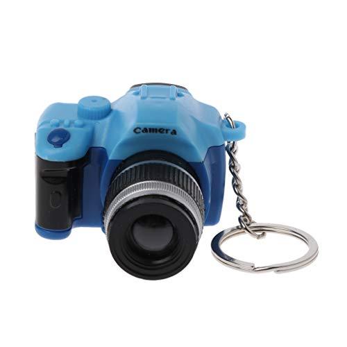 BE YOU TIFUL Llaveros, Mini Digital Reflex DSLR Cámara LED Flash Light Antorcha Obturador Sonido Llavero - Azul