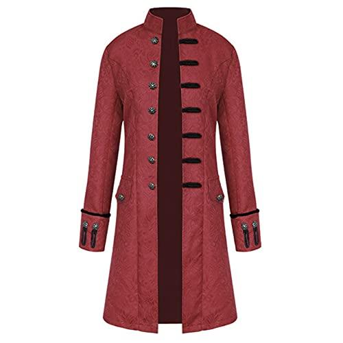 زي Steampunk للهالوين ، سترة كلاسيكية من الملابس القوطية في العصور الوسطى ، معطف بياقة ريترو فيكتوري,Burgundy,XXL