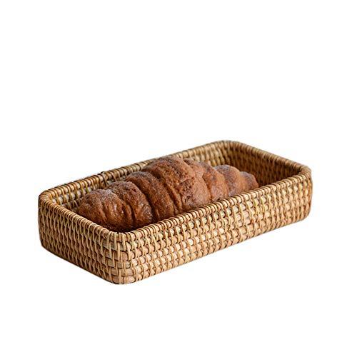 Yanxinenjoy Handgemachtes Rattan, Obstbrotkorb, nordisches Snackfach, Desktop-Aufbewahrung zu Hause, Dekoration des Couchtischs im Wohnzimmer
