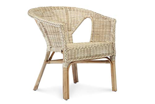 Desser Indoor Small Adults Wicker Loom Chair in White, Natural, Blue or Pink – Fully Assembled Natural Cane – Dimensions: H71cm x W57cm x D54cm, Floor to Seat 40cm