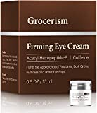 Grocerism Firming Mens Eye Cream for Dark Circles, Puffy Eyes, Under Eye Bags and Fine Lines, with Acetyl Hexapeptide-8 and Caffeine, Fragrance-Free, 0.5 oz