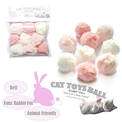 BALLMIE Cat Toys Furry Ball with Bell for Cats Kitty Rabbit Tails (Pink (with Bell))